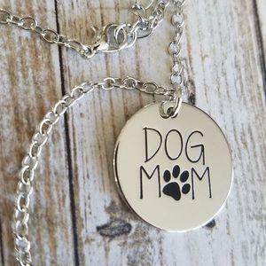 DOG MOM Stamped Necklace